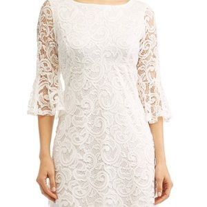 White bell sleeve lace dress. New with tags